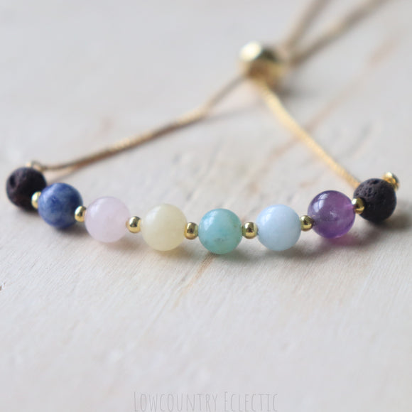Rainbow Row Slider Essential Oil Diffuser Bracelet