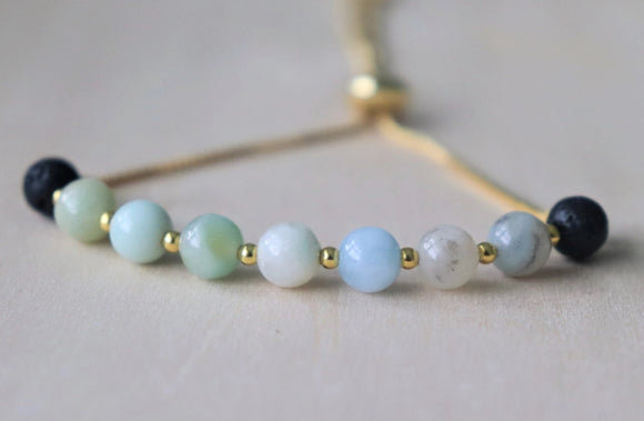 Amazonite Slider Essential Oil Diffuser Bracelet