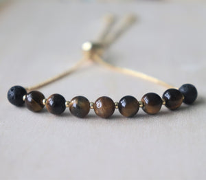 Tiger Eye Slider Essential Oil Diffuser Bracelet