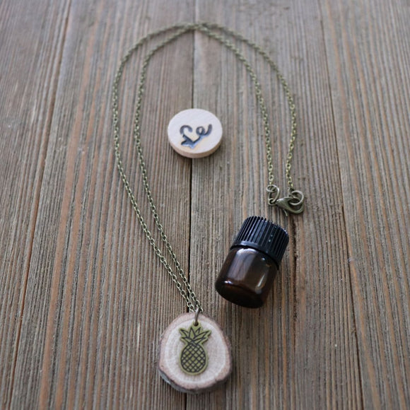 Pineapple Essential Oil Delicate Diffuser Necklace -- FREE SHIPPING // Exclusively Designed for Lowcountry Eclectic