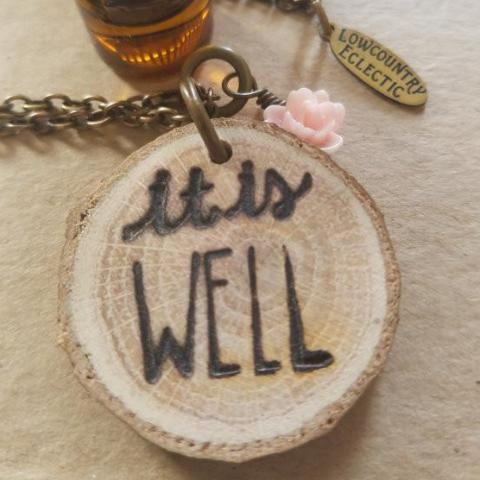 The ORIGINAL Statement Essential Oil Diffuser Necklace // 'it is Well' -- FREE SHIPPING