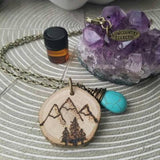 Muir Inspired Essential Oil Diffuser Necklace Made with Untreated Wood -- The Statement Line