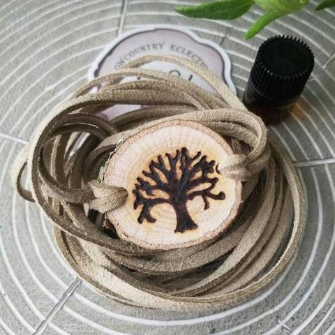 Angel Oak Essential Oil Diffuser Bracelet -- FREE SHIPPING // engraved by hand