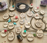 Custom Word of the Year Wood Burned Essential Oil Diffuser Necklace -- FREE SHIPPING