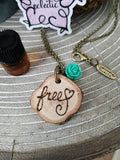 Free Heart Essential Oil Diffuser Necklace Made with Untreated Wood -- FREE SHIPPING