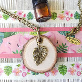 Monstera Leaf Essential Oil Diffuser Necklace -- FREE SHIPPING