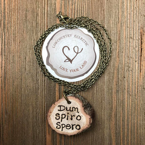 Dum Spiro Spero Handburned Essential Oil Diffuser Necklace -- The Statement Line