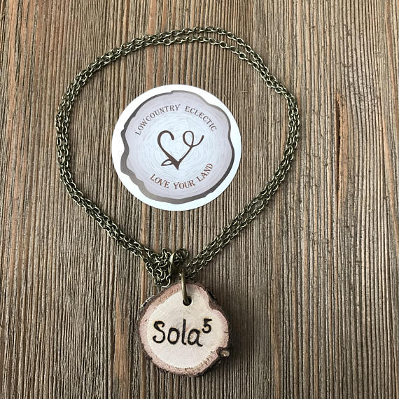 Sola 5/Tetelestei Doublesided, Handburned Essential Oil Diffuser Necklace -- GALLERY LINE