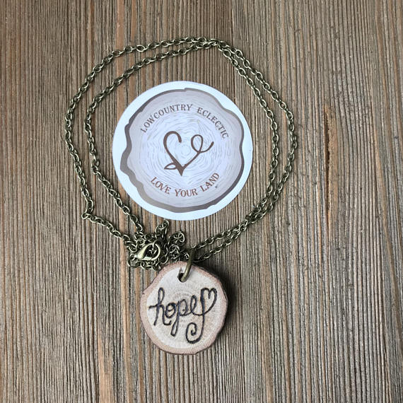 Hope Heart Statement Essential Oil Diffuser Necklace Made with Untreated Wood -- FREE SHIPPING