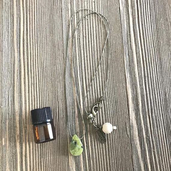 Drop of JOY quartz Delicate Essential Oil Diffuser Necklace