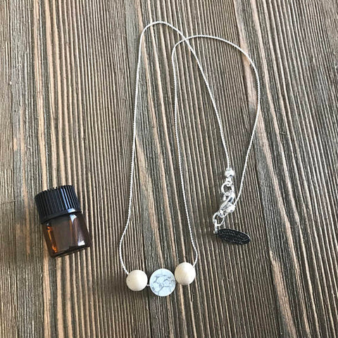 Howlite Delicate Essential Oil Diffuser Necklace Made with Untreated Wood -- FREE SHIPPING