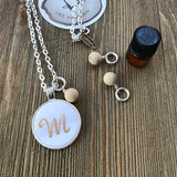Custom Word of the Year Hand Lettered Mother of Pearl Essential Oil Diffuser Necklace -- The Marbleous Collection
