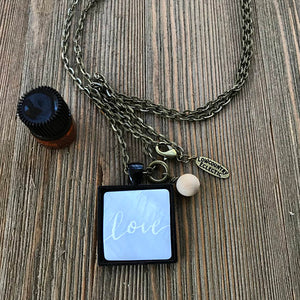 Custom Hand Lettered Mother of Pearl Essential Oil Diffuser Necklace -- The Marbleous Collection
