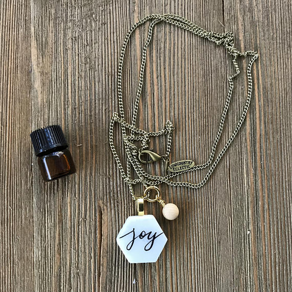 Custom Word of the Year Hand LetteredMarble Essential Oil Diffuser Necklace -- The Marbleous Collection