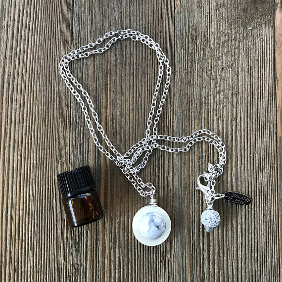 Lasso the Moon Howlite Essential Oil Diffuser Necklace -- FREE SHIPPING