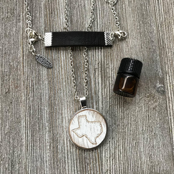 Love Your Land Hand Engraved Chippy Wood Essential Oil Diffuser Necklace