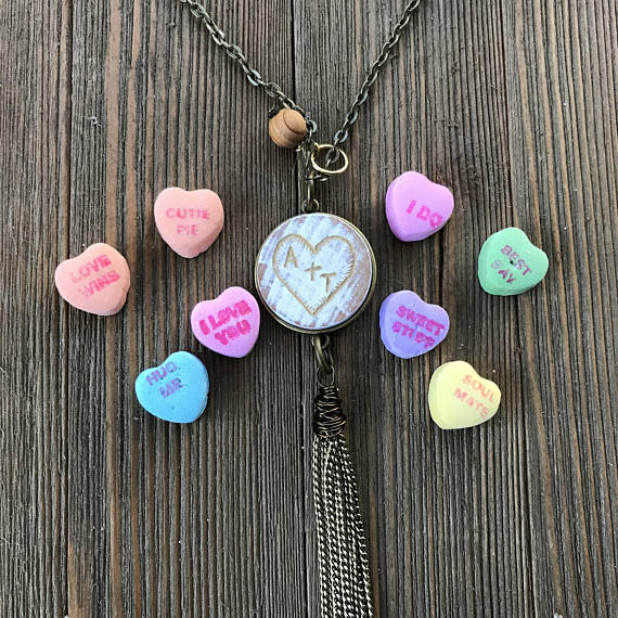 Custom Sweetheart Hand Engraved Chippy Wood Essential Oil Diffuser Tassel Necklace--GALLERY LINE