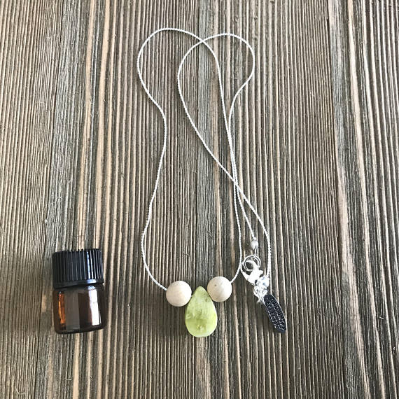 Drop of JOY quartz Delicate Essential Oil Diffuser Necklace-- FREE SHIPPING