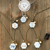 Custom Handlettered Mother of Pearl Essential Oil Diffuser Necklace -- The Marbleous Collection