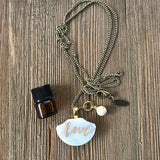 Custom Word of the Year Hand Lettered Marble Essential Oil Diffuser Necklace -- The Marbleous Collection