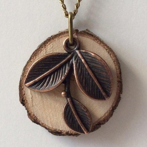 Leaf Essential Oil Diffuser Necklace Made with Untreated Wood -- FREE SHIPPING