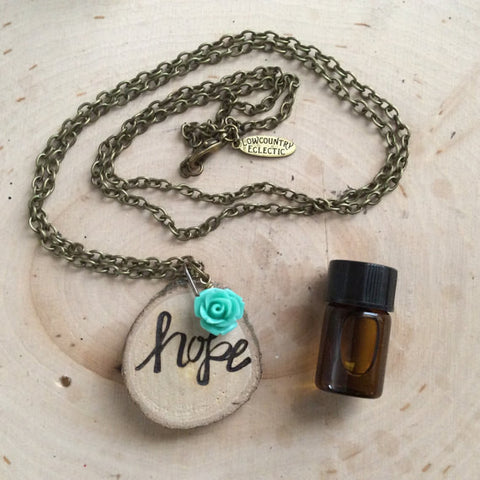 Hope Statement Essential Oil Diffuser Necklace -- Free Shipping