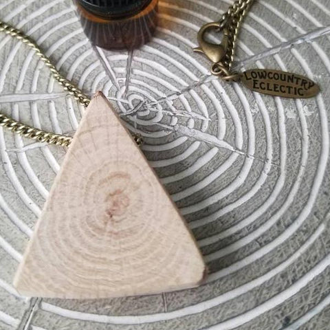 Triangle Delicate Essential Oil Diffuser Necklace Made with Untreated Wood -- FREE SHIPPING