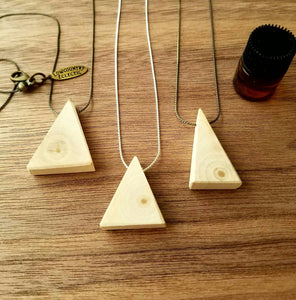 Triangle Ultra Thinline Delicate Essential Oil Diffuser Necklace Made with Untreated Wood -- FREE SHIPPING