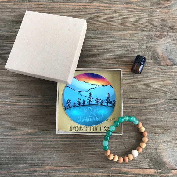 Let's Go Aventurine Gemstone Essential Oil Diffuser Bracelet-- FREE SHIPPING