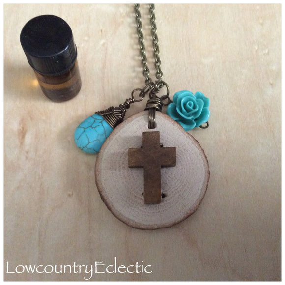 Rustic Cross Essential Oil Diffuser Necklace --GALLERY LINE
