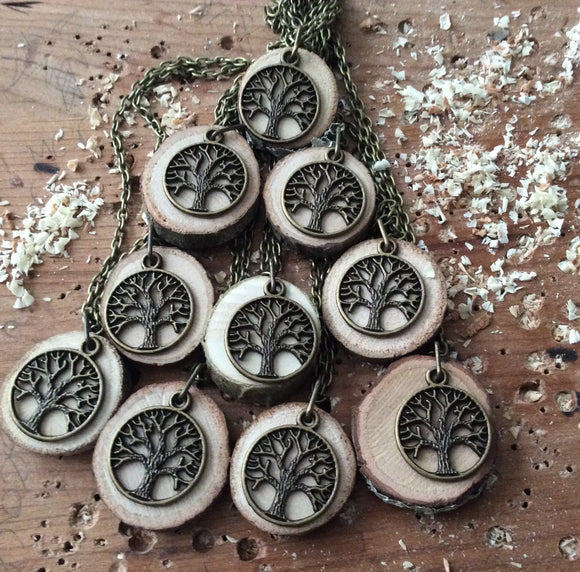 Bulk Order -- 10 Diffuser Necklaces Made with Organic Wood -- FREE SHIPPING