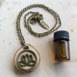 Brass Lotus Essential Oil Diffuser Necklace Made with Untreated Wood -- FREE SHIPPING
