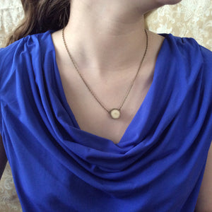 Brass One Slice Delicate Essential Oil Diffuser Necklace Made with Untreated Wood -- FREE SHIPPING