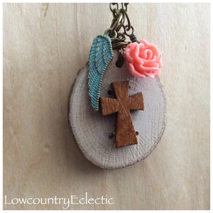 Rustic Cross Essential Oil Diffuser Necklace--GALLERY LINE