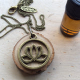 Brass Lotus Delicate Essential Oil Diffuser Necklace Made with Untreated Wood -- FREE SHIPPING