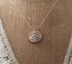 Silver Lotus Delicate Essential Oil Diffuser Necklace Made with Untreated Wood -- FREE SHIPPING