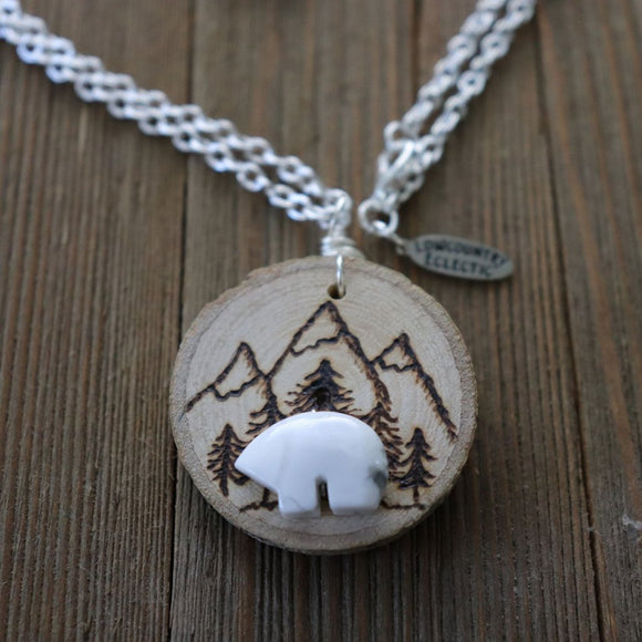 Mama Bear Essential Oil Diffuser Necklace -- FREE SHIPPING // GALLERY LINE
