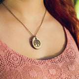 Brass Tree of Life Essential Oil Diffuser Necklace -- FREE SHIPPING