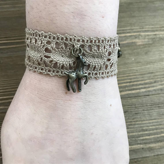 Woodland Themed Lace Essential Oil Diffuser Bracelet -- FREE SHIPPING
