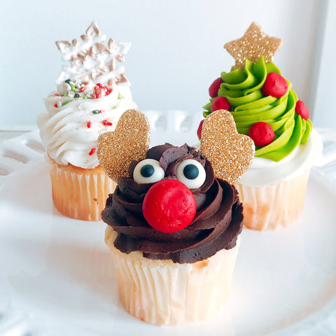 Glittering Holiday Cupcakes - Mixed (6)