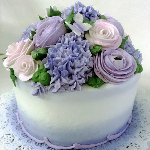 Spring Flowers and Butterflies Cake