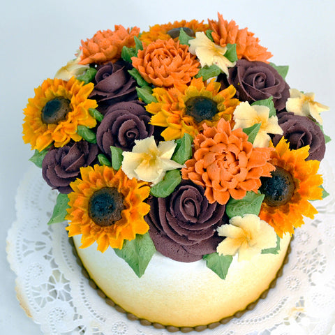 Autumn Floral Cake - The Home Bakery