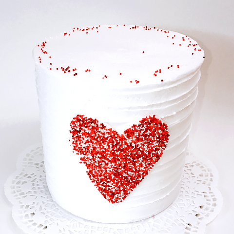 Tall Pointillism Heart Cake - Valentine