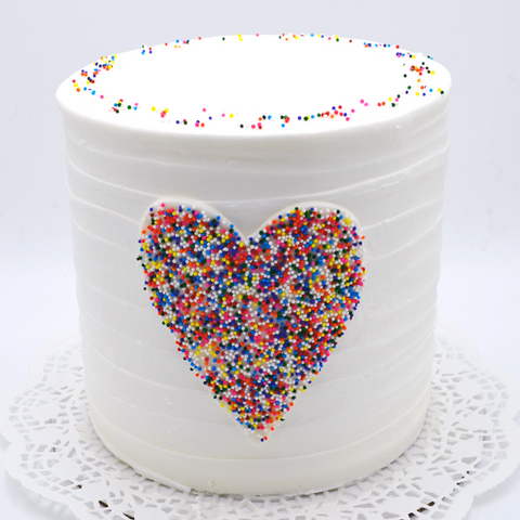 Tall Pointillism Heart Cake - Multicolored