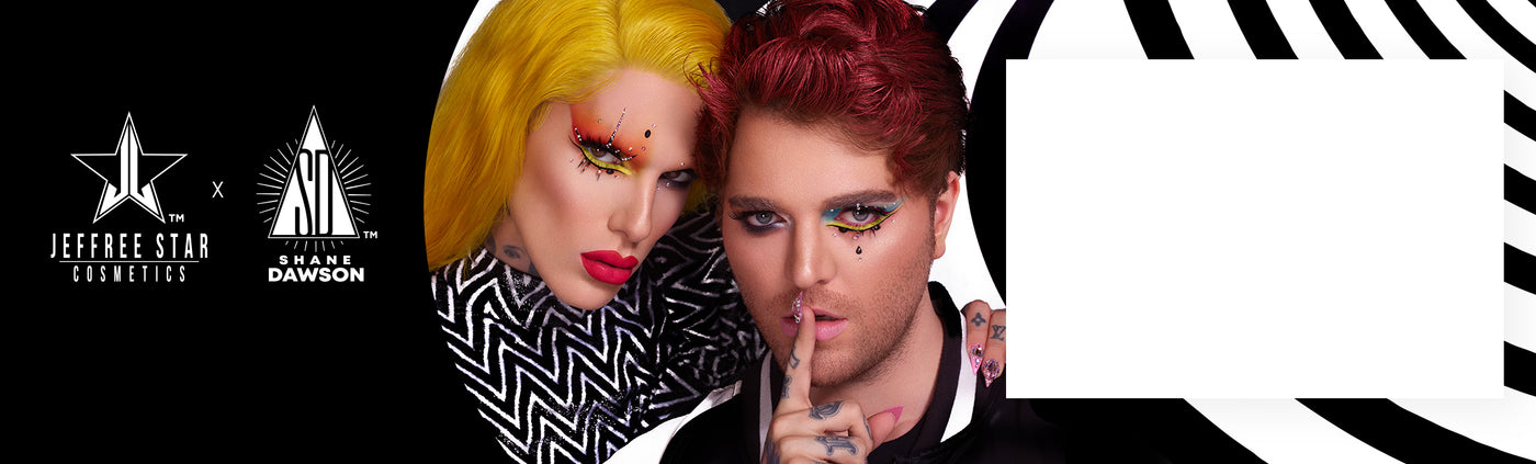 Jeffree Star Cosmetics X Shane Dawson logos + Jeffree Star and Shane Dawson modeling The Conspiracy Collection