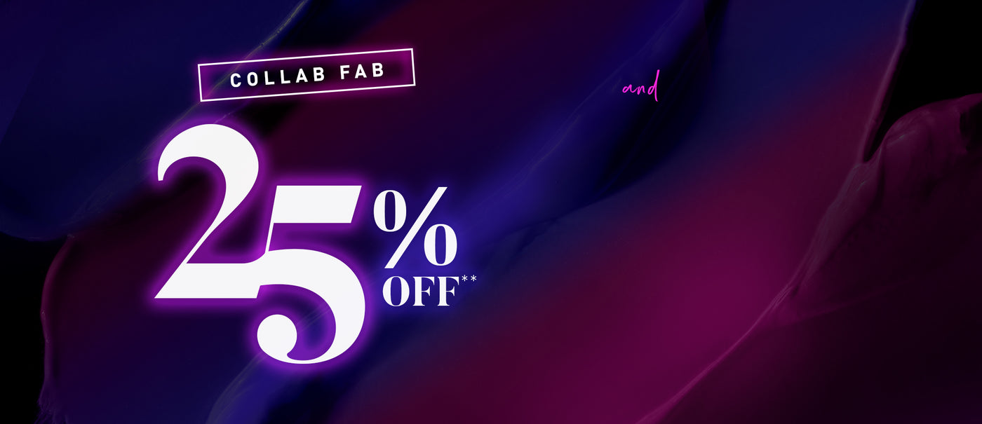 Collab Fab 25% Off** on purple and blue background