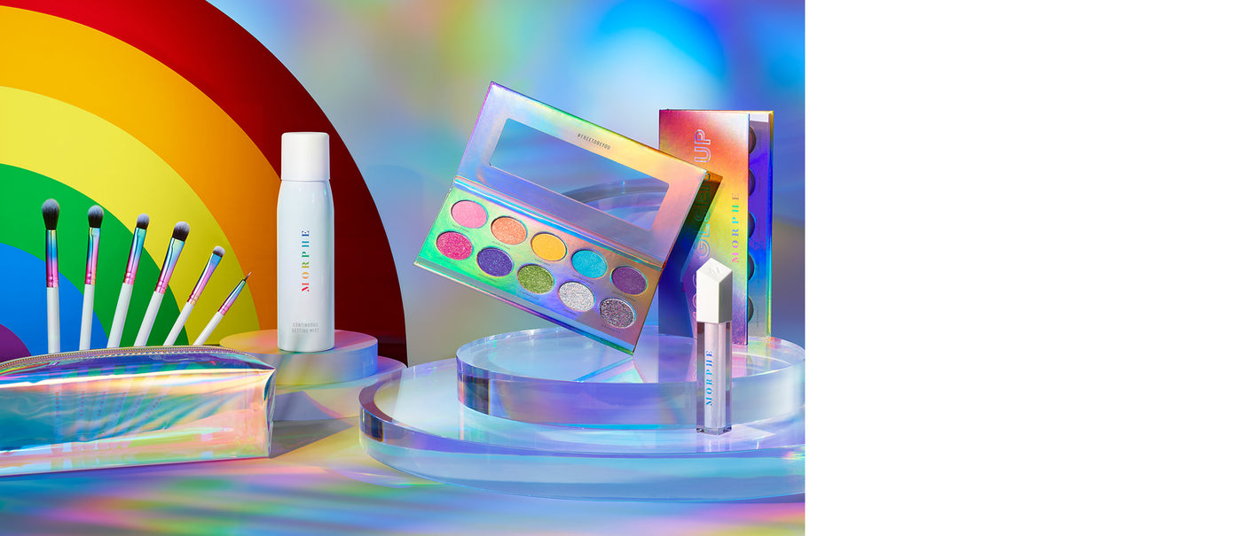 MORPHE GLSEN Free to be You Collection shot with rainbow background