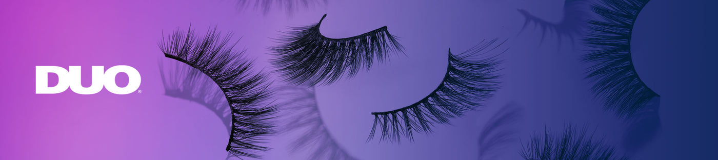DUO logo, faux lashes on purple gradient background