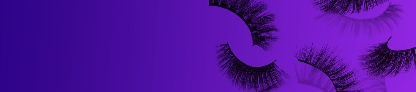 faux lashes on purple background