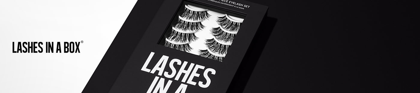 LASHES IN A BOX logo with LASHES IN A BOX eyelash set